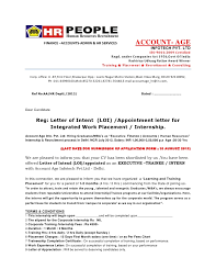 Cover Letter Examples For Internship  sample letter of intent