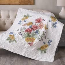 Shop Plaid Bucilla ® Stamped Cross Stitch - Lap Quilts - Flowers ... & Bucilla ® Stamped Cross Stitch - Lap Quilts - Flowers From the Garden Adamdwight.com