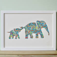framed mother elephant picture in paisley print