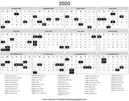 Printable Calendars 2020 With Holidays 2020 Calendar