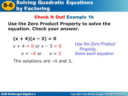 example 1b use the zero property to solve the equation