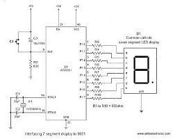 all its electronics interfacing seven segment display to  the circuit diagram shown above is of an at89s51 microcontroller based 0 to 9 counter which has a 7 segment led display interfaced to it in order to display