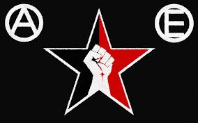 Anarcho-syndicalist star (red=social unity & black=antiauthoritarianism), left fist (power to the people), Circle A = Anarchism, Circle E = Egalitarianism (true equality for all)