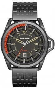diesel mens watches diesel mens rollcage exposed stainless steel case and bracelet black dial black watch dz1719