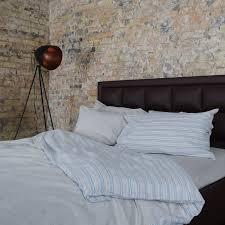 linen duvet cover set multi color striped and grey