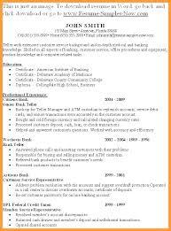 Best Resume Template Entry Level Bank Teller Resume Socialum Co 5605