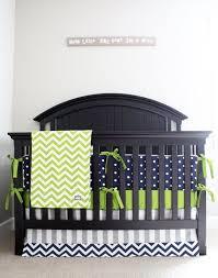 green and navy crib bedding
