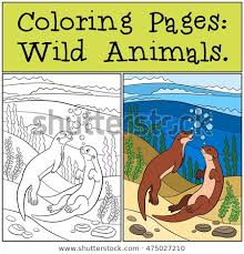 Coloring Pages Wild Animals Two Little Stock Vector Royalty Free