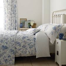 country design interior bedroom ideas with double size duvet cover set and pillemont toile blue bedding