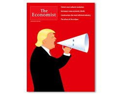 economist cover economist depicts trump shouting through a kkk hood shaped megaphone