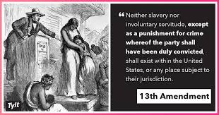 "Image result for ""Neither slavery nor involuntary servitude, except as a punishment for crime whereof the party shall have been duly convicted, shall exist within the United States, or any place subject to their jurisdiction."""
