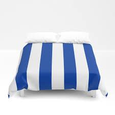 dark princess blue and white wide vertical cabana tent stripe duvet cover