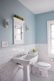 Bathroom Colors Simple Blue Grey Accent Wall Sink Vanity Warm ...