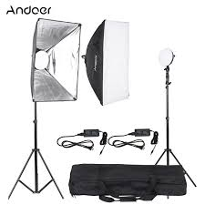 andoer led photography studio lighting light kit with 2 30w led lamp 2