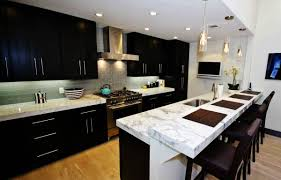 Kitchen, Dark Cabinets Light Countertops High Back Bar Stools White Marble  Countertop Double Trash Can