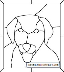 stained glass dog panel pattern