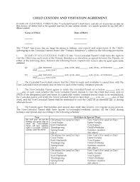 child visitation agreement form form child custody form