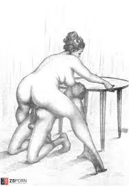 Voyeur Erotic Vintage Drawn Art