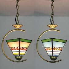 stained glass craftsman pendant light 1