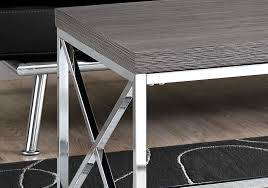 coffee table grey with chrome metal