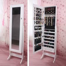 gorgeous stand alone jewelry box large jewelry stand armoire mirror cabinet storage white cheval