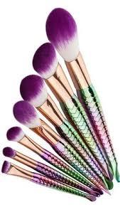 7 piece mermaid makeup brush set