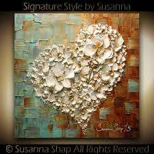 ORIGINAL Abstract Thick Texture Flowers Art White Heart and Key Painting  Contemporary Gallery Fine Art by Susanna Ready to Hang Canvas