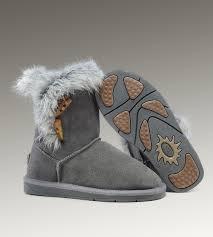 UGG Fox Fur Short Boots 5685 Grey Popular