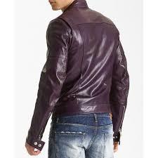 men s casual faux leather purple motorcycle jacket