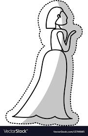 Woman Bride Wedding Outline Royalty Free Vector Image