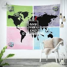 pop art world map wall tapestry good vibes only hanging modern uk pop art world map wall tapestry good vibes only hanging modern uk