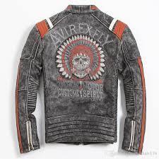 2018 vintage black men leather motorcyclist jacket skull embroidery plus size 3xl genuine cowhide short biker coat leather skull jacket leather jacket skull