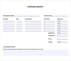 Sample Itemized Receipt Template 8 Free Documents In Pdf