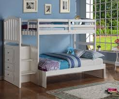 Donco Arch Twin over Full Stair Stepper Bunk Bed White