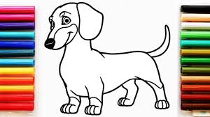 Coloring Page With Dachshund Dog Colouring Book For Kids Youtube