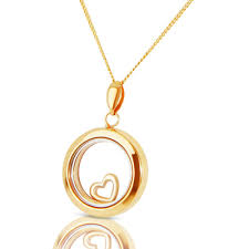 new 9ct gold floating heart pendant and chain necklace jewellery from william may jewellers uk
