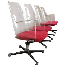 lucite office chair. Lucite Clear Office Chair Furnished With Arms And Red Velvet Cushioned Seat Chairs Also