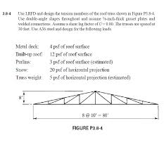 30 Foot Truss Design Solved Use Lrfd And Design The Tension Members Of The Roo