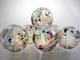 Speckled Ornaments  Set of 6  End of Day Multi-Colored Sun Catchers   Confetti Christmas Decorations