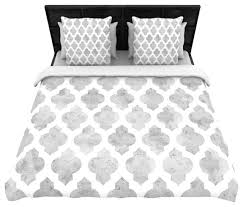 amanda lane gray moroccan white featherweight duvet cover