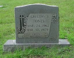 Gregory E Toney Tombstone at Pleasant Hill Cemetery