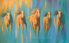 dawn of a new day abstract horse painting by theresa paden