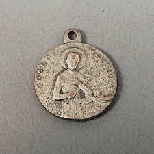 details about vintage silver tone religious medal charm relic st gerard majella reliquia