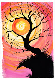 learn to paint a watercolor of a tree holding a sun at sunset with simple basic