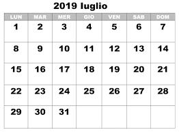 Gratuito Calendario Iuglio 2019 Da Stampare