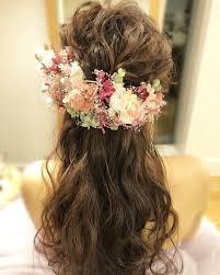 Wedding お色直しは ハーフアップ お花もたくさんで とってもcute