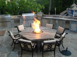 hexagon fire pit dining table tables patio pertaining to set inspirations 1