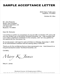 Offer Letter Acceptance Mail Format Sample Formal Acceptance Letters 8 Examples In Word Pdf