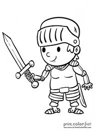 You can use our amazing online tool to color and edit the following knight coloring pages. Cartoon Boy Knight With A Sword Print Color Fun