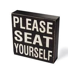 com yankario farmhouse funny bathroom signs decor classic wooden box sign 6 square black white please seat yourself home kitchen